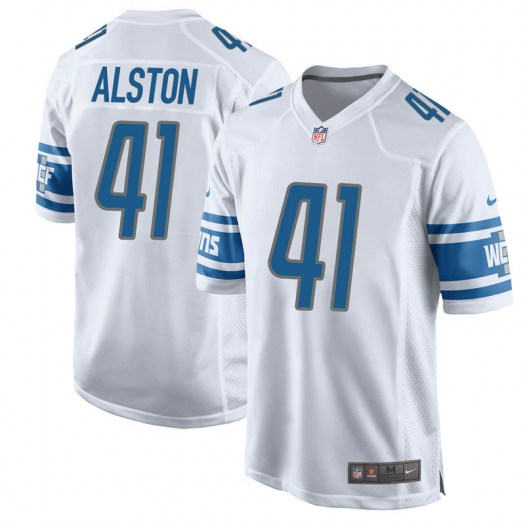 Nike Johnathan Alston Detroit Lions Game White Jersey - Youth