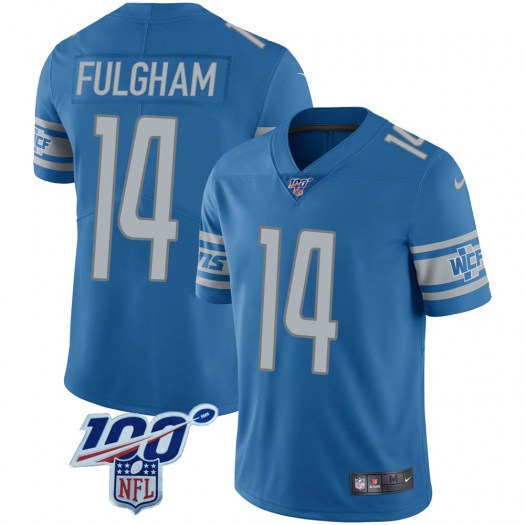 Nike Travis Fulgham Detroit Lions Limited Blue 100th Vapor Jersey - Youth